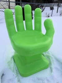 """GIANT Neon/Lime Green HAND SHAPED CHAIR 32"""" adult 70's ..."""