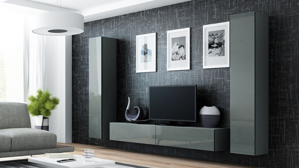 grey living room furniture set italian toronto high gloss tv cabinet / wall unit stand 'viva ...