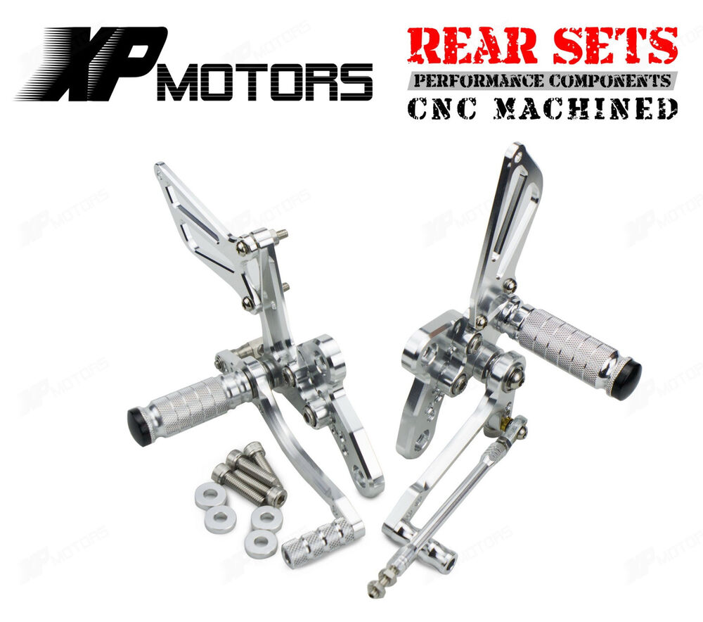 CNC Silver Adjustable Foot Pegs Rear Sets For Suzuki