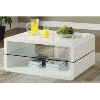 Glossy White Contemporary Clear Temper Glass Sleek Modern ...