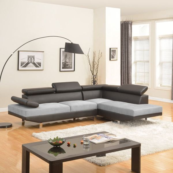 2pc Sectional Sofa Black Grey Modern 2-tone Microfiber Bonded Leather