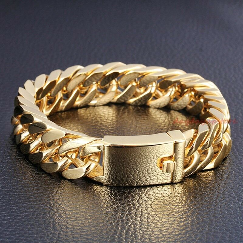 Classic 85 14mm 18K Gold Mens Jewelry Stainless Steel