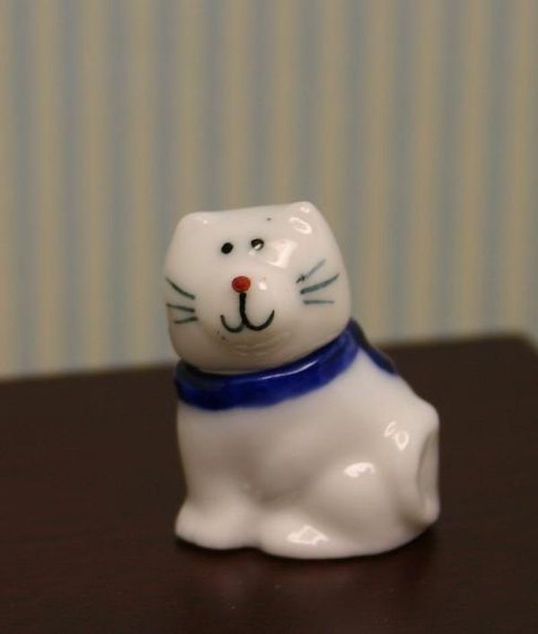Blue and White Cat Cookie Jar