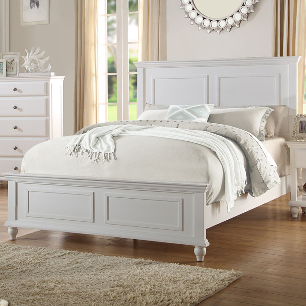 Bedroom White Wood bed frame Headboard Footboard