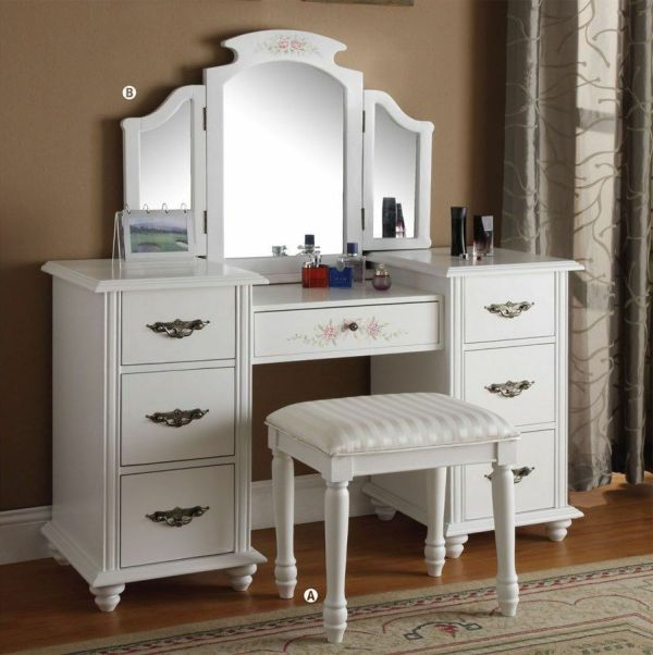 White Vanity Dressing Table Set With Mirror