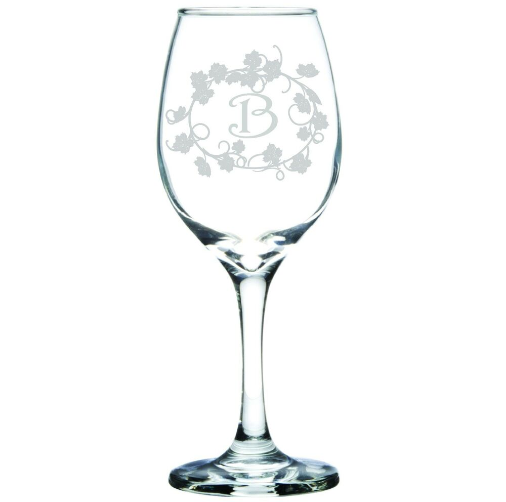 Engraved Personalized Customized Wine Glass Monogram or