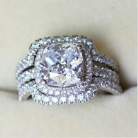 Engagement 8mm Diamonique Cz White Gold Filled 3-in-1 ...
