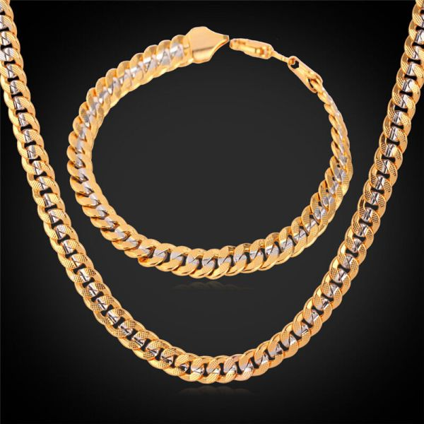Popular 18k Two Tone Gold Plated Curb Chain Necklace