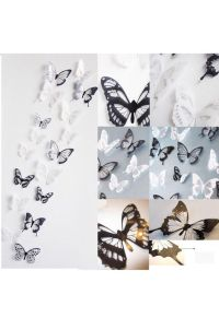 18pcs3D Cute Black/White Butterfly Crystal Decor Wall ...