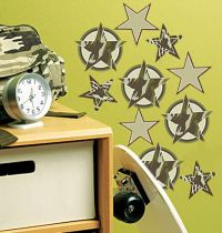 WALLIES CAMOUFLAGE STARS wall stickers 18 decals military ...
