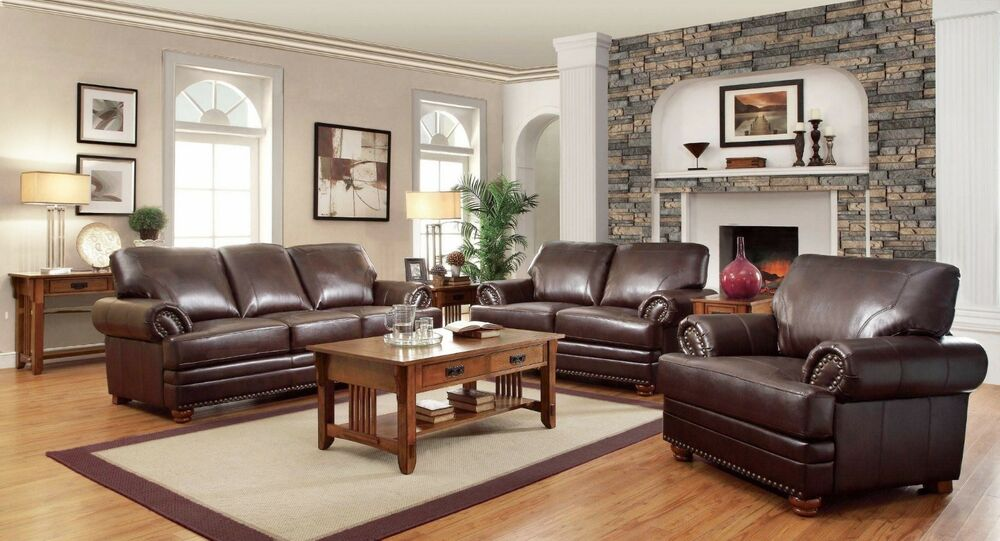 living room dark brown couch interior design for pictures traditional bonded leather sofa loveseat & chair 3 ...