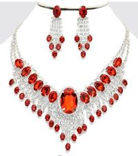 Red Clear Silver Wedding Rhinestone Crystal Pageant