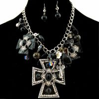Western Black Large Cross Pendant with Charms Necklace ...