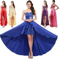 High-Low SEQUINS Evening Prom Dresses Long Bridesmaid ...