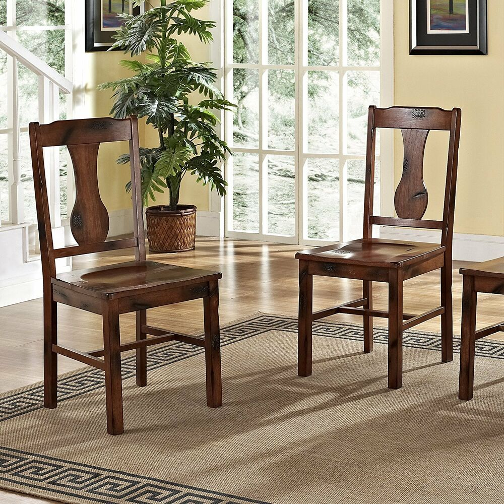 Walker Edison Huntsman Dining Chair  Dark Oak Set of 2 CHH2DO Dining Chair NEW  eBay
