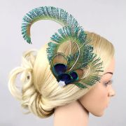 2016 women peacock feather hairpin