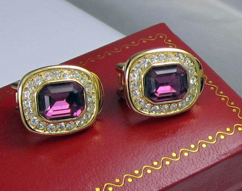 Vintage Christian Dior Clip On Earrings Gold Plated Purple