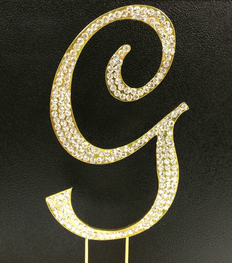GOLD Plated Rhinestone Monogram Letter G Wedding Cake