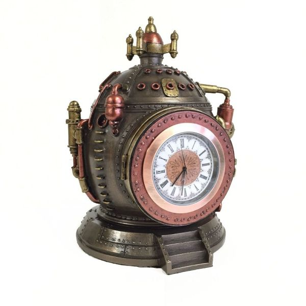 Steampunk Time Machine Clock & Trinket Box Statue Figurine