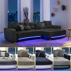 Tantra Chair Sex Leather Ottoman Swivel Wohnlandschaft Laredo Sofa Ecksofa In Schwarz Grau Greige Led Soundsystem | Ebay