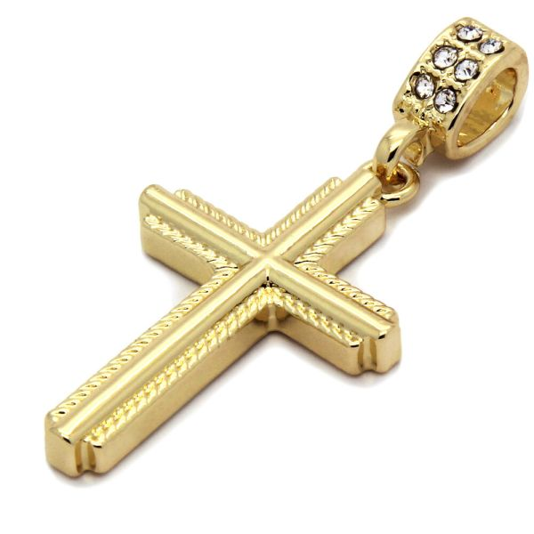 Mens 14k Gold Plated Braided Cross Pendant With 30
