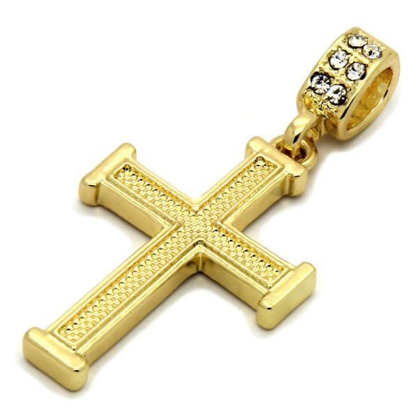 Mens 14k Gold Plated Staple Wired Cross Pendant With 24