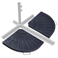 2pc Patio Offset Umbrella Stand Holder Fan Shaped Cross