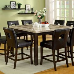 Set Of 8 Dining Chairs Chair Cover Elegance Iowa Square Marble Top Table & Side 9pc Counter Height New | Ebay