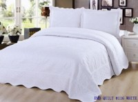 3 pc Embroidered Quilt Bedding / Bedspread / Pillow Sham ...