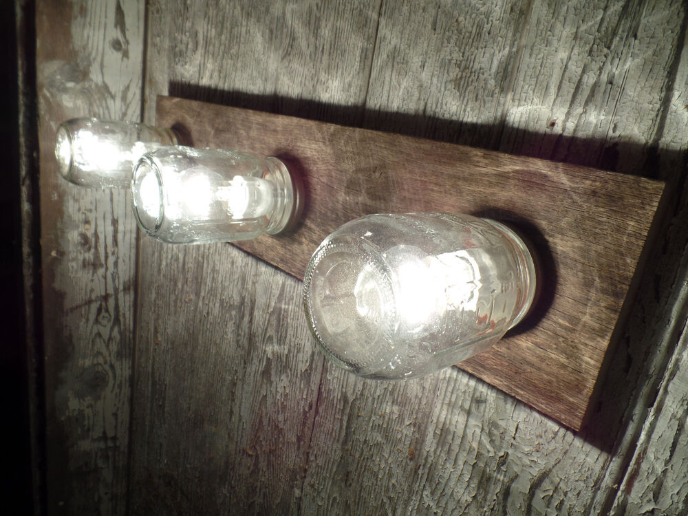 24 3 Mason Jar Light Fixture Reclaimed OAK Barn board
