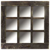 Reclaimed Barn Wood 9-Pane Window Mirror Rustic 24x24 ...