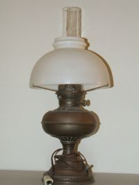 Antique 1800's Brass Rayo Electric Oil GWTW Table Lamp ...