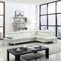 2 Piece Contemporary Modern Faux Leather White Sectional ...