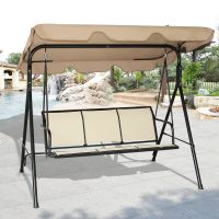 COSTWAY 3 Person Patio Swing Outdoor Canopy Awning Yard ...