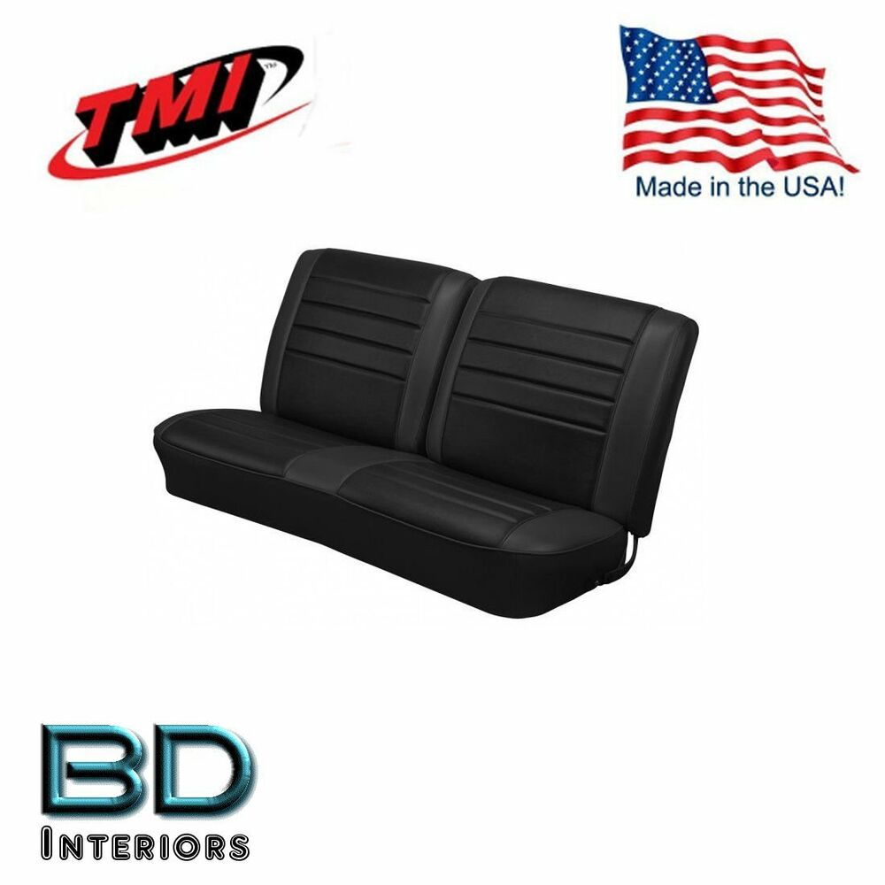 hight resolution of details about 1965 chevy el camino front bench seat upholstery black made in usa by tmi