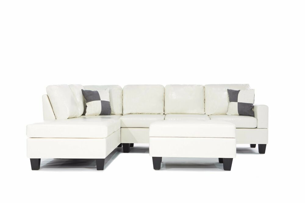 bobkona sofa set animal print slipcovers 3pc bonded leather white modern reversible sectional couch ...