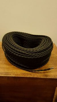 50 ft Black Twisted Cloth Covered Wire Vintage Antique ...