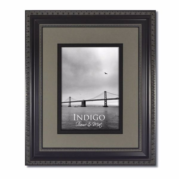 11x14 Ornate Black Frame Glass & Slate Gray Mat 8x10