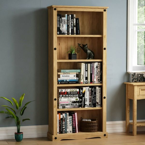 Corona Tall Bookcase Large Display Unit Solid Mexican Pine Wood Home