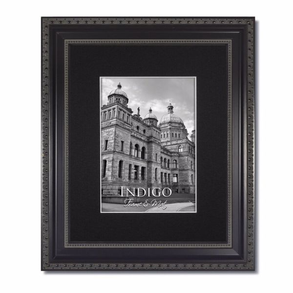11x14 Ornate Black Frame Glass & Single Mat 8x10
