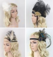 vintage feather flapper headband