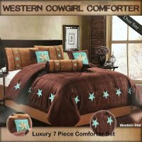 Western Embroidered Texas Star Comforter Bedspread 7 Piece