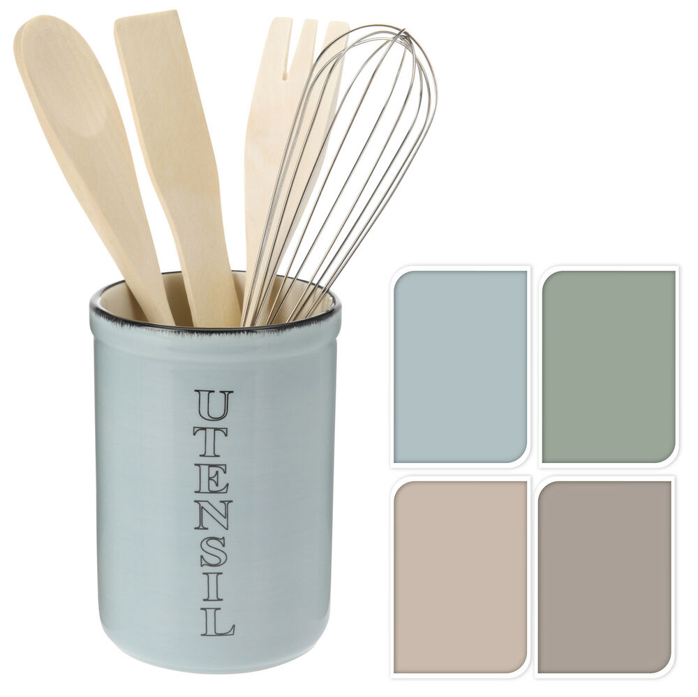 kitchen utensils holder home depot door hardware shabby chic glazed ceramic utensil with whisk spoon details about fork spatula