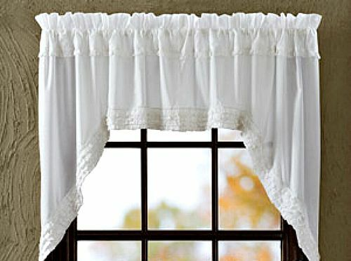 Shabby French Country Chic WHITE RUFFLED SWAGS Sheer