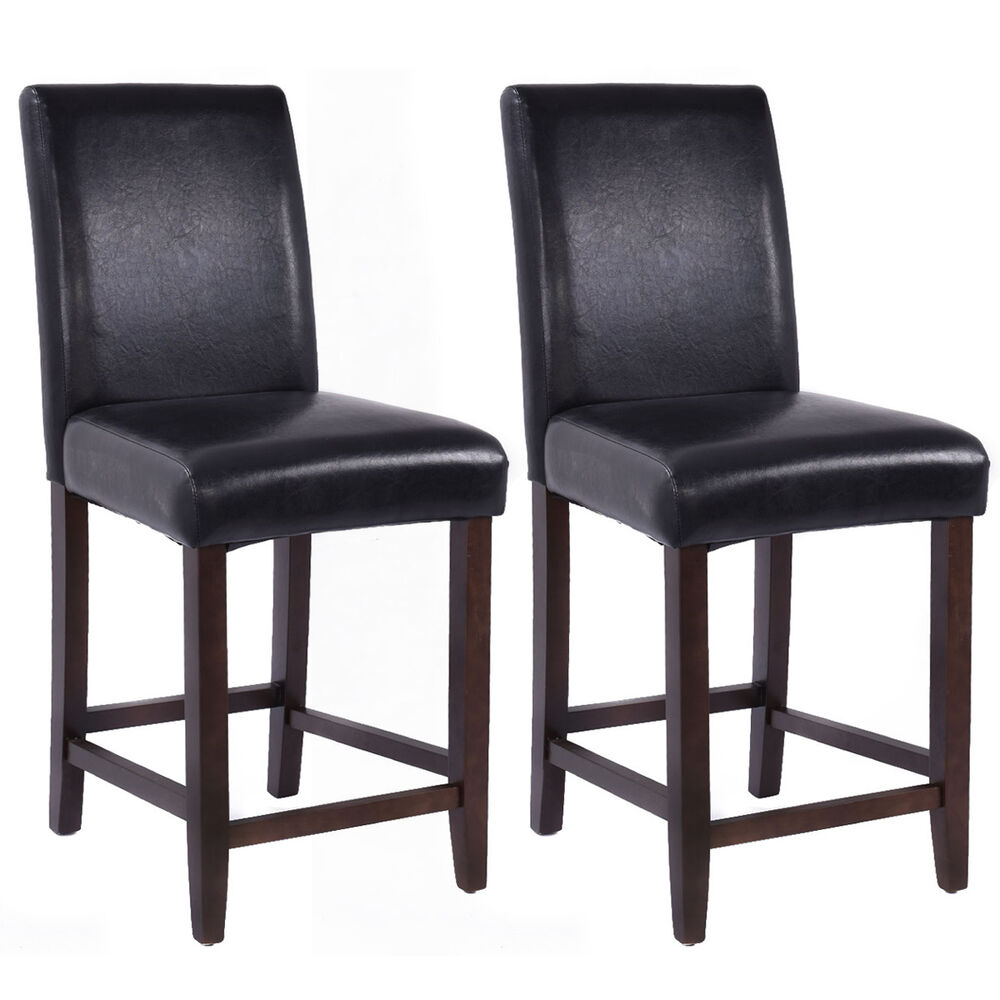 Set of 2 Kitchen Bar Stools Padded Dining Height Wood