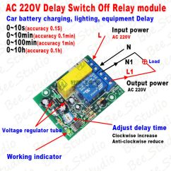Time Delay Relay Circuit Diagram Thermo King Tripac Wiring Ac 220v Timing Timer Counter Switch Turn Off Module Board | Ebay