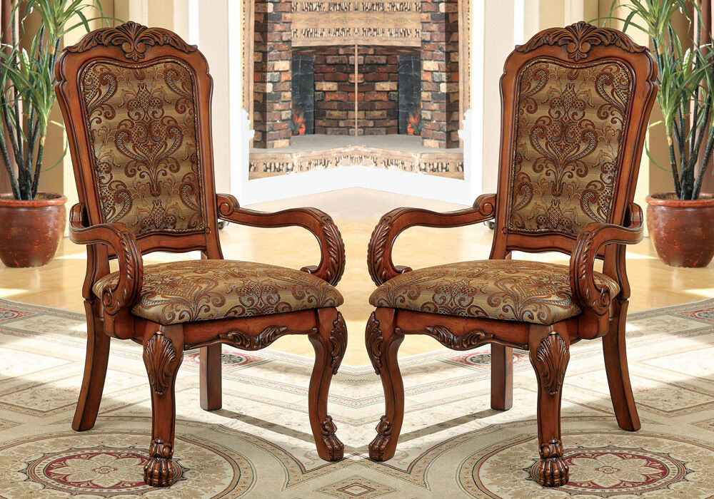 Medieve 2 Pcs Formal Dining Arm Chairs Fabric Floral