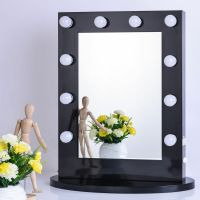 Black Vanity Lighted Hollywood Makeup Mirror with Dimmer ...