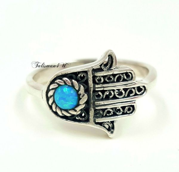 Sterling Silver Hamsa Ring Blue Opal Evil Eye Protection