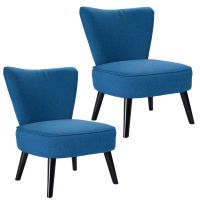 Set of 2 Armless Accent Dining Chair Modern Living Room ...